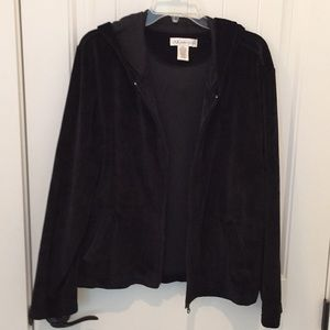 Anne Klein black velour hooded jacket.